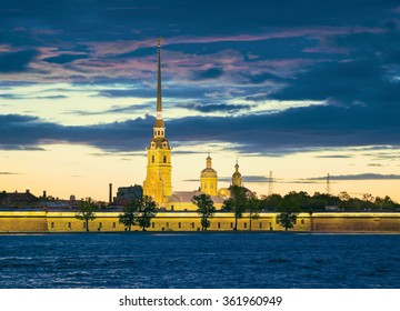 Peter and Paul Fortress and Cathedral. The White Nights in St.-Petersburg, Russia