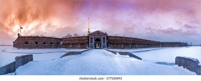 Peter and Paul Fortress. Neva Gate. Saint-Petersburg.