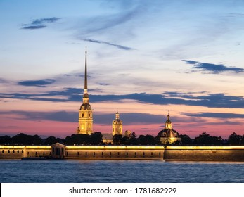 Peter and Paul Fortress at night. Season of white nights. Saint Petersburg, Russia