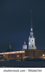 Peter and Paul Fortress in St. Petersburg at night