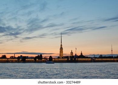 Peter and Paul fortress at summer night, St.Petersburg, Russia