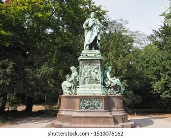 Peter von Cornelius denkmal monument by Adolf von Donndorf unveiled in 1879 in Duesseldorf, Germany