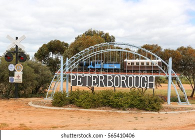 PETERBOROUGH, AUSTRALIA - October 22, 2016: Welcome sign to Peterborough, South Australia. The entrance sign consists of a model railway and bridge with the name of the town in the Australian outback