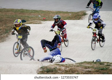 Peterborough bmx Track 21th July 2013. rider falling off bike and taking a nasty landing
