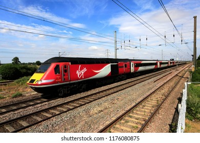 Peterborough, Cambridgeshire, England, UK  September 5th 2018 A Virgin train on the East Coast Main Line Railway,