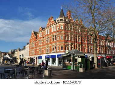 PETERBOROUGH, CAMBRIDGESHIRE/UK - January 25, 2018. Buildings on the corner of Exchange Street and Long Causeway, Peterborough, Cambridgeshire, England
