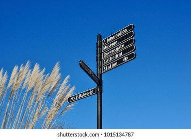 PETERBOROUGH, CAMBRIDGESHIRE/UK - January 25, 2018. Footpath signpost and tall pampas grasses, Peterborough