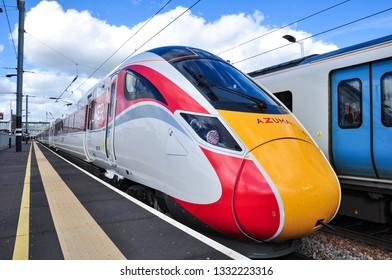PETERBOROUGH, CAMBRIDGESHIRE/UK - March 5, 2019. LNER Class 800 Azuma on test run at Peterborough, Cambs, England, UK