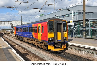 PETERBOROUGH, CAMBRIDGESHIRE/UK - March 5, 2019. East Midlands Trains Class 153 single unit diesel railcar waits at Peterborough station with a train for Lincoln