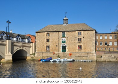 PETERBOROUGH, CAMBRIDGESHIRE/UK - March 5, 2019. Old Cutoms House. An 18th century building formerly used as granary and warehouse on bank of the River Nene, Peterborough, Cambridgeshire, England