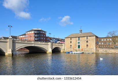 PETERBOROUGH, CAMBRIDGESHIRE/UK - March 5, 2019. Old Cutoms House. 18th century building formerly a granary and warehouse beside Town Bridge and the River Nene, Peterborough, Cambridgeshire, England