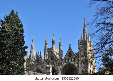 PETERBOROUGH, CAMBRIDGESHIRE/UK - March 5, 2019. The Impressive Cathedral Spires, Peterborough, Cambridgeshire, England