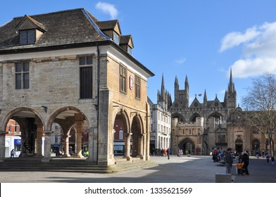 PETERBOROUGH, CAMBRIDGESHIRE/UK - March 5, 2019. Guildhall in Cathedral Square with Norman Gate leading to the Cathedral beyond, Peterborough, Cambridgeshire, England