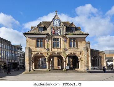 PETERBOROUGH, CAMBRIDGESHIRE/UK - March 5, 2019. Guildhall, Cathedral Square, Peterborough, Cambridgeshire, England