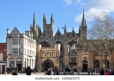PETERBOROUGH, CAMBRIDGESHIRE/UK - March 5, 2019. Cathedral Square with Norman Gate leading to the Cathedral beyond, Peterborough, Cambridgeshire, England