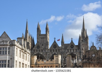 PETERBOROUGH, CAMBRIDGESHIRE/UK - March 5, 2019. The Cathedral spires beyond Norman Gate, Peterborough, Cambridgeshire, England