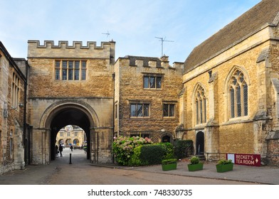 PETERBOROUGH, CAMBRIDGESHIRE/UK - October 30, 2017. The Norman Gate and adjoing old buildings at the front of the Cathedral, Peterborough, Cambridgeshire, England
