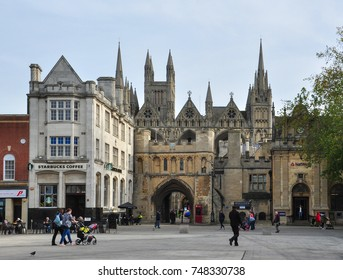 PETERBOROUGH, CAMBRIDGESHIRE/UK - October 30, 2017. Cathedral Square with Norman Gate leading to the Cathedral beyond, Peterborough, Cambridgeshire, England