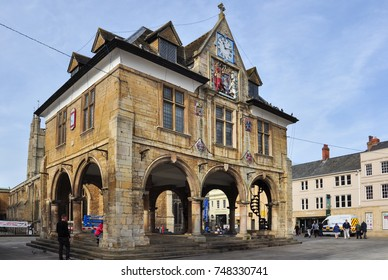 PETERBOROUGH, CAMBRIDGESHIRE/UK - October 30, 2017. Guildhall, Cathedral Square, Peterborough, Cambridgeshire, England
