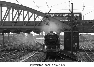 PETERBOROUGH, CAMBRIDGESHIRE/UK - September 26, 2015. Class A1 steam locomotive, 'Tornado' approaching Peterborough, England, UK