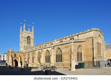 PETERBOROUGH, CAMBRIDGESHIRE/UK - September 27, 2018. Parish church of St John the Baptist, Peterborough, Cambridgeshire, England