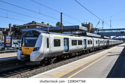 PETERBOROUGH, CAMBRIDGESHIRE/UK - September 27, 2018. Class 700 EMU passenger train awaiting departure, for London, at Peterborough, Cambridgeshire, England