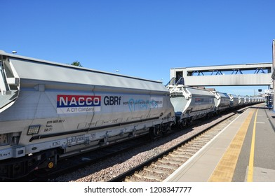 PETERBOROUGH, CAMBRIDGESHIRE/UK - September 27, 2018. Freight wagons of north bound train, Peterborough, Cambridgeshire, England