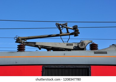 PETERBOROUGH, CAMBRIDGESHIRE/UK - September 27, 2018. Pantograph on Class 90 electric locomotive, Peterborough, Cambridgeshire, England