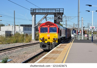 PETERBOROUGH, CAMBRIDGESHIRE/UK - September 27, 2018. Deutsche Bahn class 66 No 66001 heads a southbound freight into Peterborough, Cambridgeshire, England