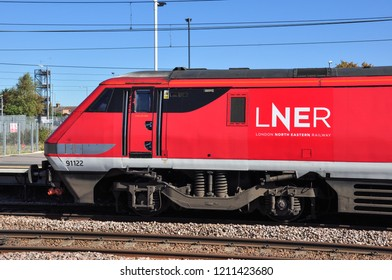 PETERBOROUGH, CAMBRIDGESHIRE/UK - September 27, 2018. Red liveried class 91 electic locomotive at Peterborough, Cambridgeshire, England