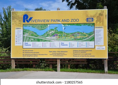 Peterborough, Canada - August 31, 2018: Billboard of Riverview Park and Zoo.