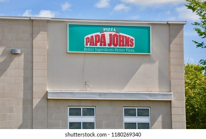 Peterborough, Canada - September 8, 2018:  Sign of Papa John's Pizza store in front of the building.