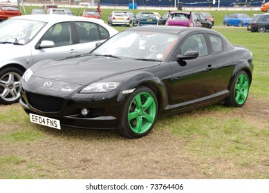 PETERBOROUGH, ENGLAND - May 24: Black Mazda RX8 on May 24, 2008 in Peterborough, England, UK.  Peterborough Show Ground is Host to Annual Modified Nationals Automotive Show