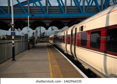 Peterborough, England, UK July 2019 Awaiting the road at Peterborough is one of the newly introduced Azuma train sets with the LNER services to and from Leeds