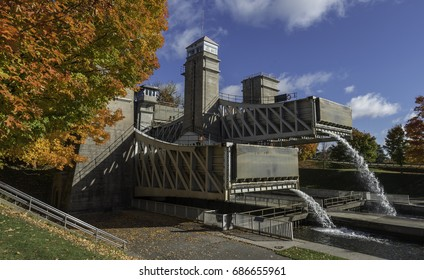 Peterborough lift lock photographed in the fall. This lift lock is the highest hydraulic liftlock in the world.