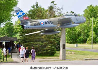 Peterborough, Ontario, Canada - July 8, 2019: F-86  Mark 5 Sabre fighter aircraft on display in Riverview Park and Zoo in Peterborough.