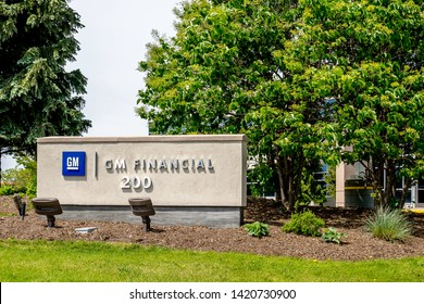 Peterborough, Ontario, Canada - June 08, 2019: Sign of GM Financial in Peterborough, Ontario, Canada. GM Financial is the wholly owned captive finance subsidiary of General Motors.