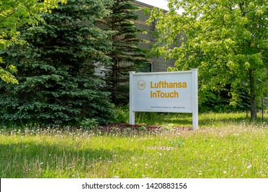 Peterborough, Ontario, Canada - June 08, 2019: Sign of Lufthansa InTouch office in Peterborough Ontario, Canada. Lufthansa is the largest German airline.