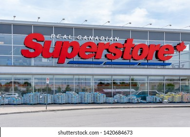 Peterborough, Ontario, Canada - June 09, 2019: Sign of Real Canadian Superstore in Peterborough, Ontario, Canada, a chain of supermarkets owned by Canadian food retailing giant Loblaw Companies.