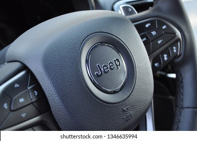 Peterborough, Ontario, Canada - March 21, 2019: Sign of Jeep in the steering wheel of Grand Cherokee Limited X 2019