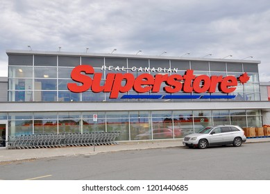 Peterborough, Ontario, Canada - October 6, 2018: Car seen parked in front of Real Canadian Superstore.