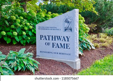Peterborough, Ontario, Canada - September 13, 2018: The Pathway of Fame at Del Crary Park in Peterborough recognizes individuals who have made significant contributions to the community.
