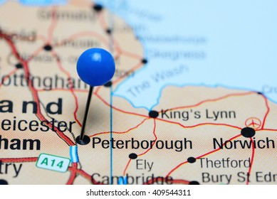 Peterborough pinned on a map of UK