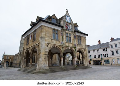 PETERBOROUGH, UK, - FEBRUARY 12, 2018. Peterborough Guildhall  historic architecture in the city centre of peterborough, UK.