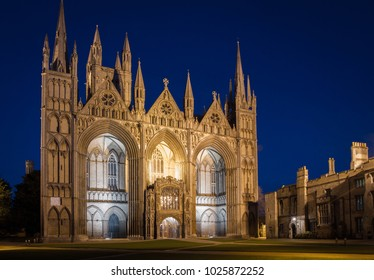 PETERBOROUGH, UK, - FEBRUARY 12, 2018. Peterborough Cathedral historic architecture in the city centre of peterborough, UK and shown at night illuminated by lights.