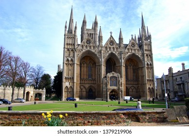 PETERBOROUGH, UK - MARCH 14, 2008 - West front view of Peterborough Cathedral (Cathedral Church of St. Peter, St. Paul and St. Andrew), Peterborough, England, UK, Europe, March 14, 2008.