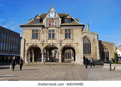 PETERBOROUGH, UK - MARCH 14, 2008 - The Guildhall in Cathedral Square with the Church of St. John to rear, Cathedral Square, Peterborough, Cambridgeshire, England, UK, March 14, 2008.