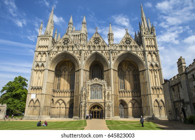 PETERBOROUGH, UK - MAY 22ND 2017: The facade of the magnificent Peterborough Cathedral in the historic city of Peterborough in Cambridgeshire, UK, on 22nd May 2017.