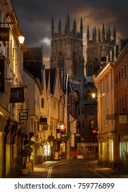 Petergate England York City centre with York Minster in the background at night on the 16/08/2016