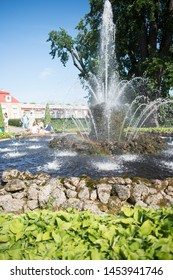 Petergof, known as Petrodvorets from 1944 to 1997, is a municipal town in St. Petersburg, located on the southern shore of the Gulf of Finland. This fountain from the palace was taken in August, 2016.